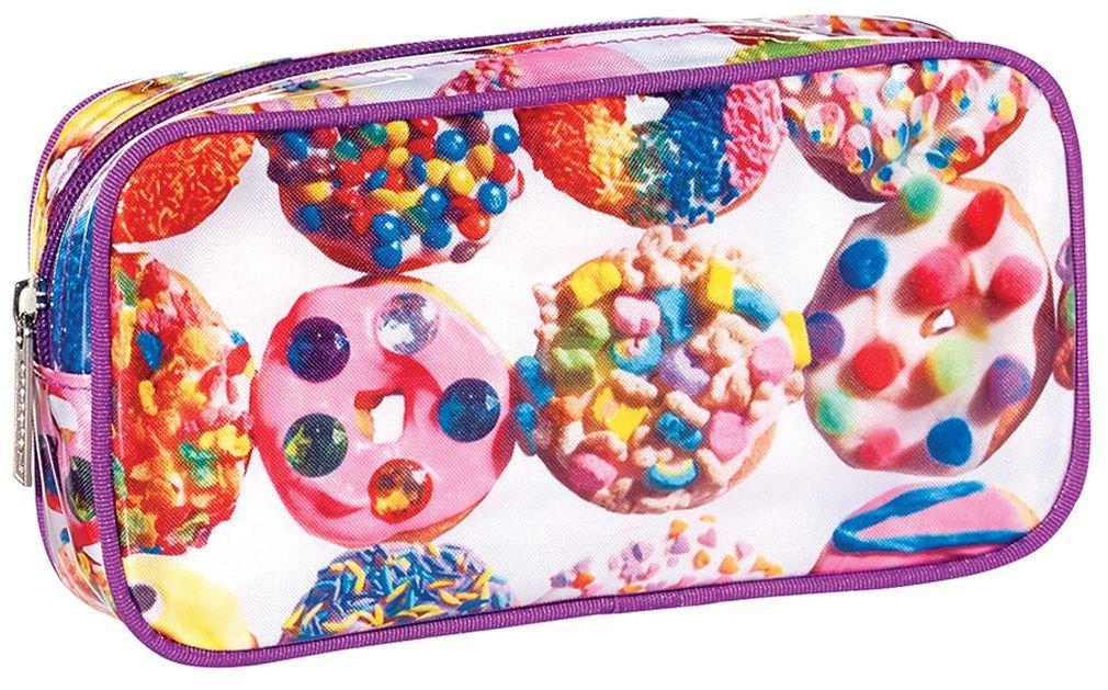 "iscream 'Dozens of Donuts' 8.5"" x 4.5"" Bold Print Zippered Cosmetic Bag"