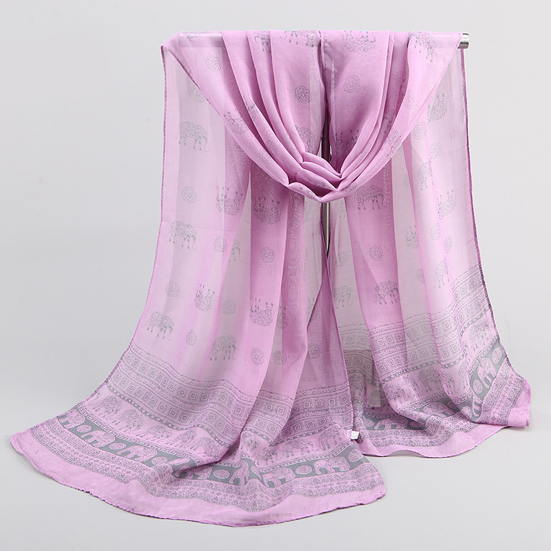 Hot Sale Wholesale Solid Color Elephant Print Malaysia Pearl Chiffon Scarf Women