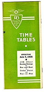 Penn Ohio Coach Lines 1935 Bus Time Tables and Route Map