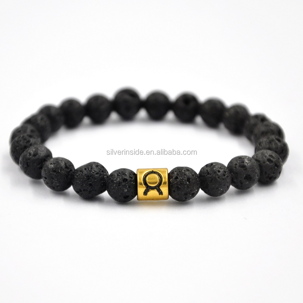 Men's Lava Stone Virgo Zodiac Sign Horoscope Bracelet Charm Beaded Bracelet