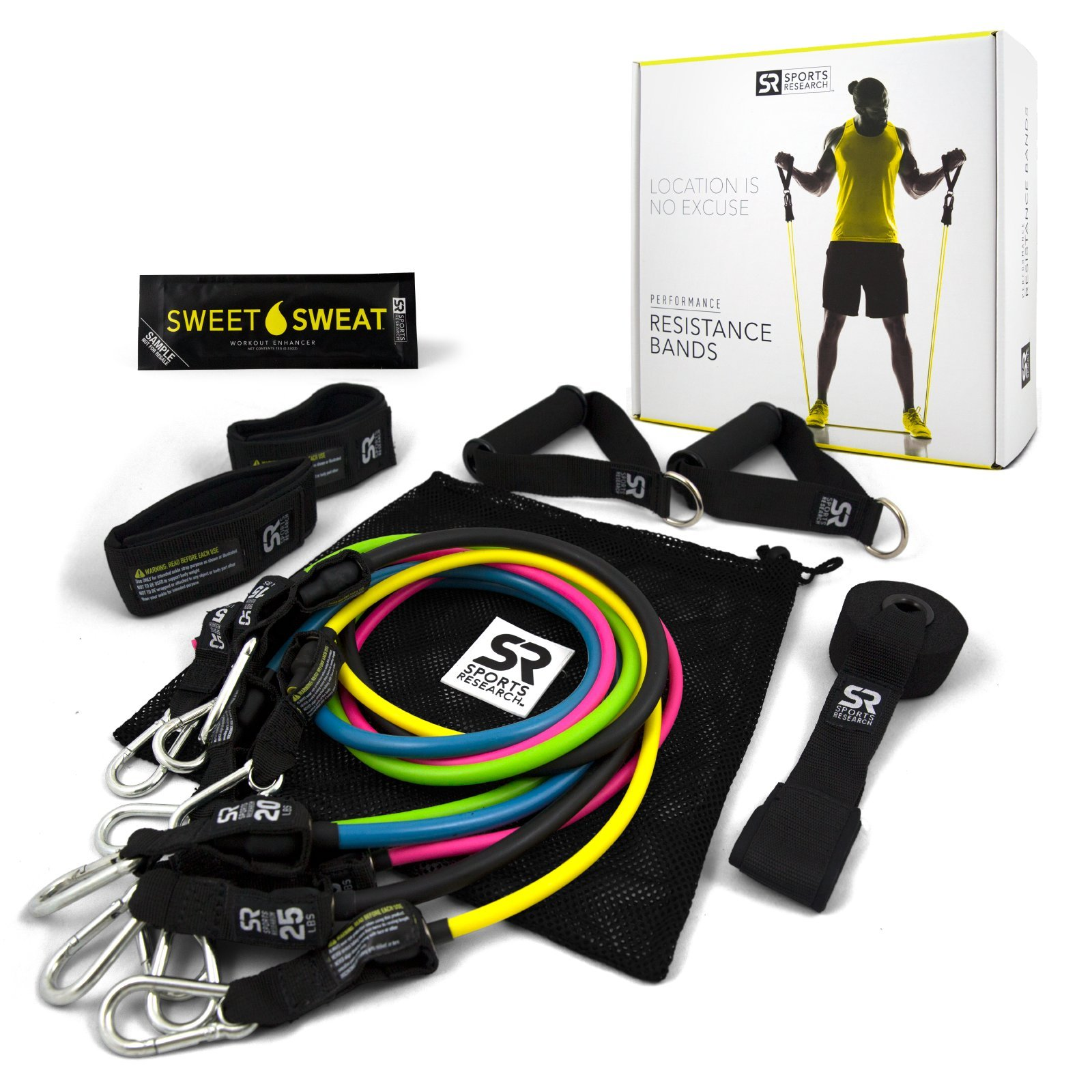05fb794d88 Get Quotations · Sweet Sweat Premium Resistance Bands Set - Includes  Carrying bag