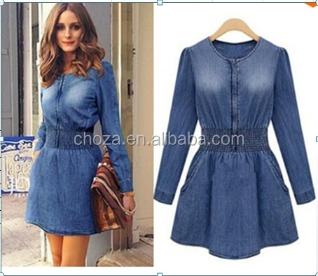 C21669B Women Long Sleeves Denim Dresses Casual Jeans Dress