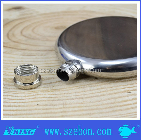 Hot sales High quality round shape Stainless steel Hip Flask with leather wrapped in gift box