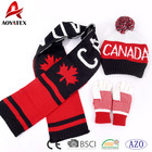Jacquard football double layers scarf hat gloves woven acrylic sets