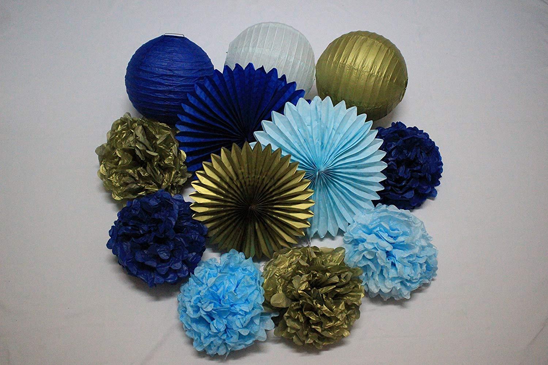 2d1d4d5d4f9f Get Quotations · 12pcs Mixed Baby Blue Navy Gold Tissue Paper Pom Poms Paper  Lanterns Tissue Paper Fan Wedding
