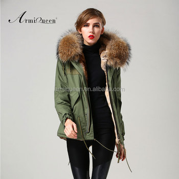 Factory In China Wholesale Winter Womens Army Green Fake Fur ...