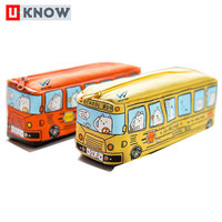 Factory direct price branded lightweight canvas bus pencil case for kid