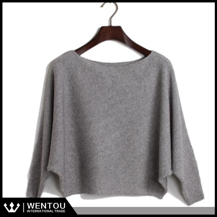 Hot Sell Pure Color Crew Neck Sweater Loose