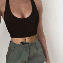 B34046A 2018 Latest fashion halter neck plain color sports crop top