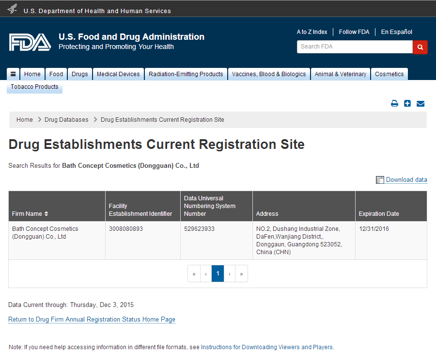 2016 Establishment Registration with FEI Screenshot