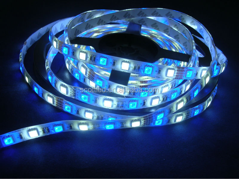 RGB + White Color 5050 LED ropes 60LEDs/M, 5M/reel,5050 RGB+W LED Strips,White PCB with 3M tape,Waterproof IP65,DC12V