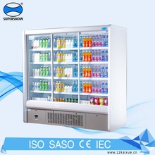 French Selling Rubber Two Sliding Door Dispaly Cold Drink Refrigerator
