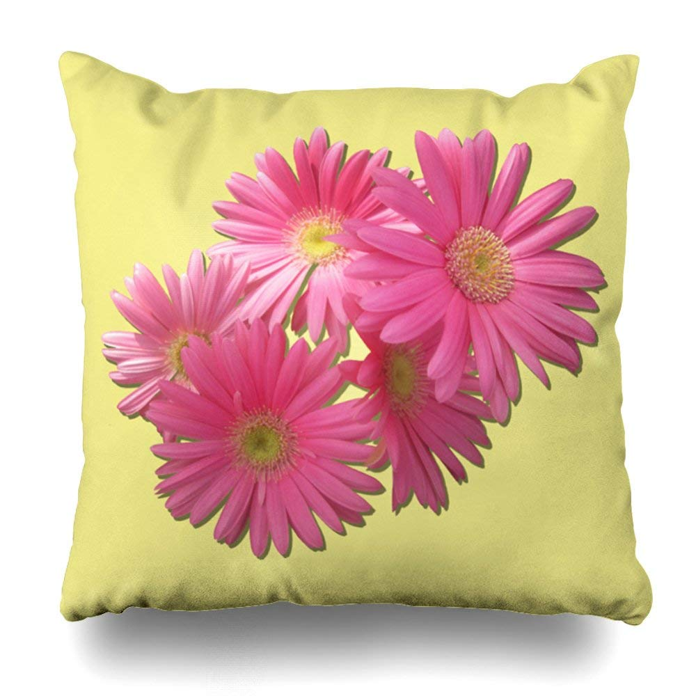 "Soopat Decorative Pillow Cover 18""X18"" Two Sides Printed Pillow Dark Pink Gerbera Daisies Throw Pillow Cases Decorative Home Decor Indoor Nice Gift Kitchen Garden Sofa Bedroom Car Living Room"