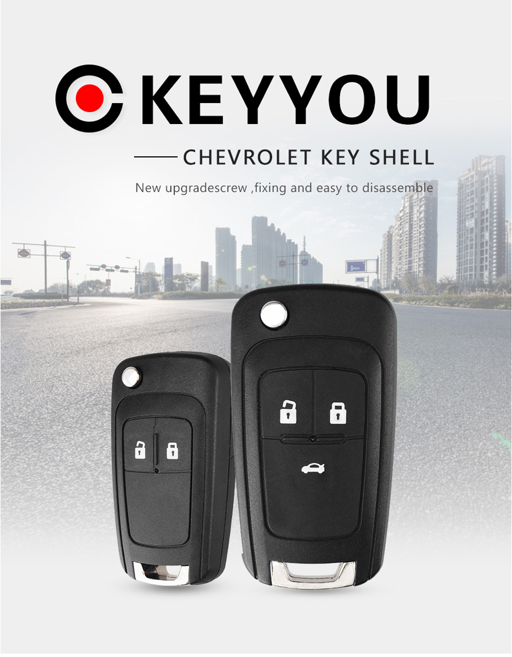 Keyyou Flip Folding Remote Car Key Shell For Chevrolet Cruze Epica Lova Camaro Impala 3 Buttons Hu100 Uncut Blade Buy Cruze Key Chevrolet Epica Chevrolet Key Product On Alibaba Com