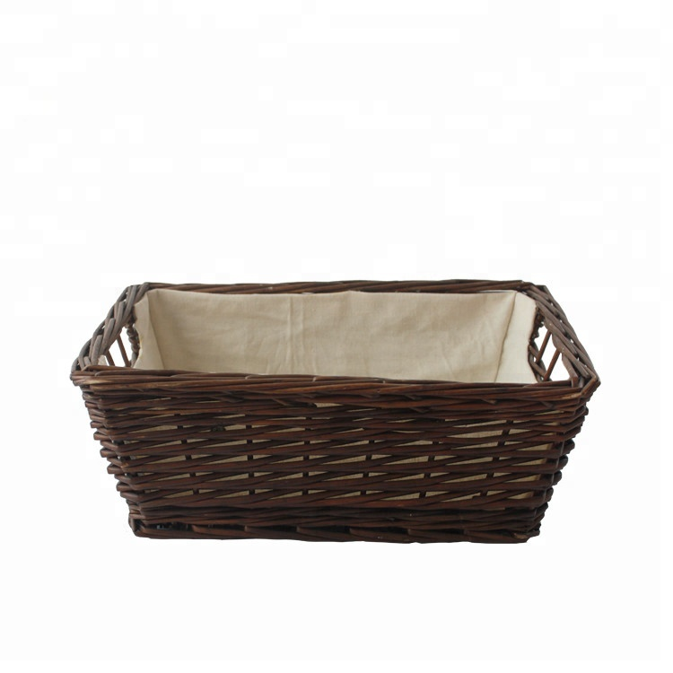 Brown wicker storage basket with lining