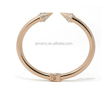 Wholesale Dubai Diamond with Rose Gold Stainless Steel Crystal CZ Bangle for Women Bracelet