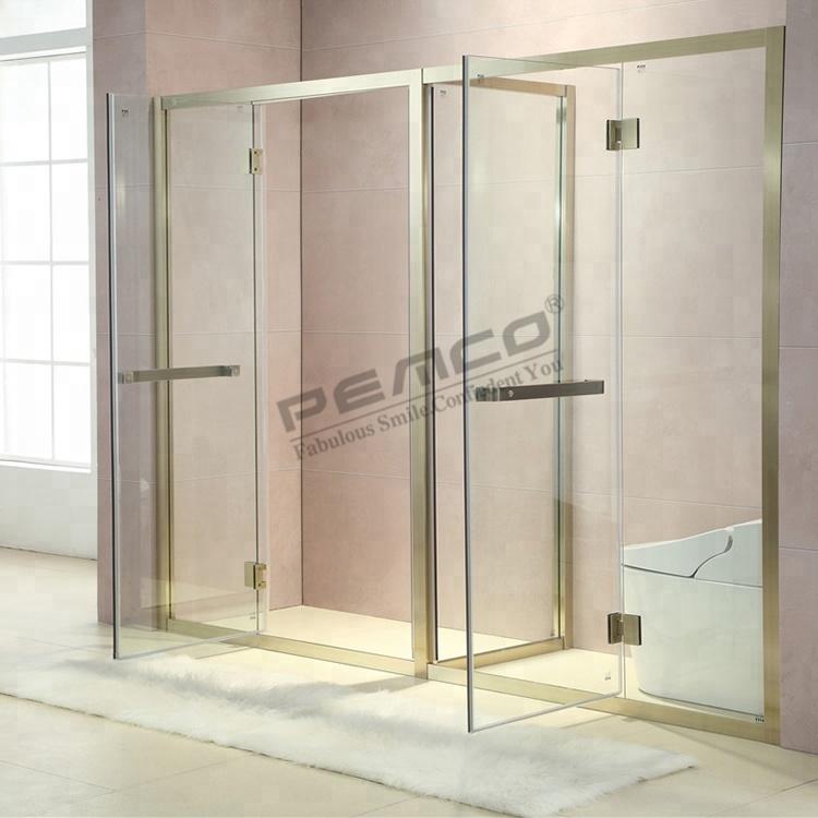 Free Standing Shower Enclosure Bronze Double Door Double Open ...