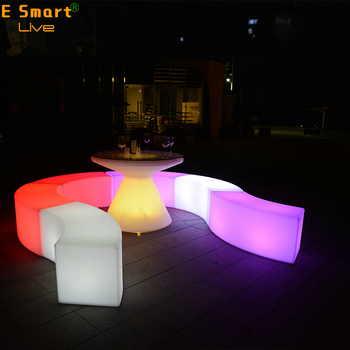 Led Snake Type Bench Light Up Beach Lounge Chairs Bar Furniture Plastic
