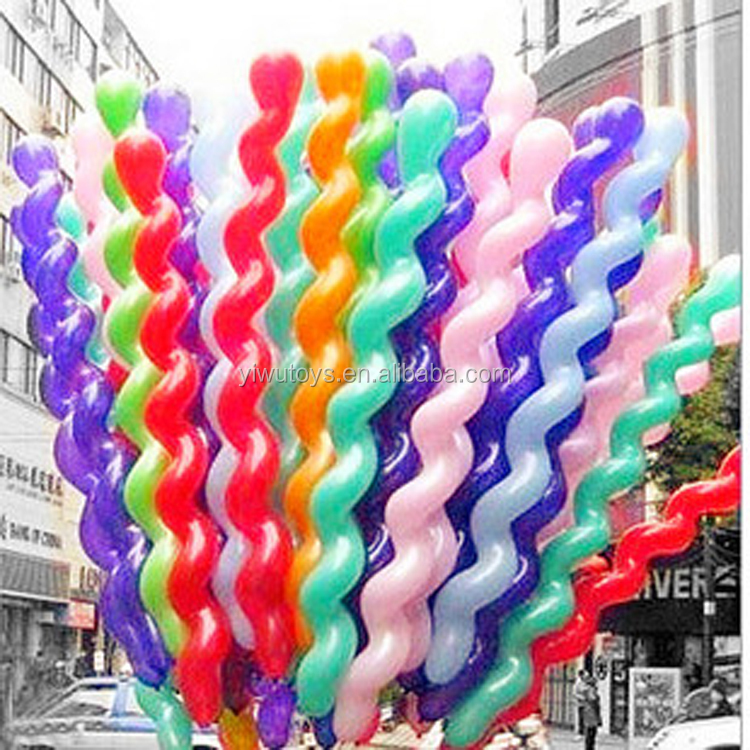 party decoration screw latex spiral shape balloon