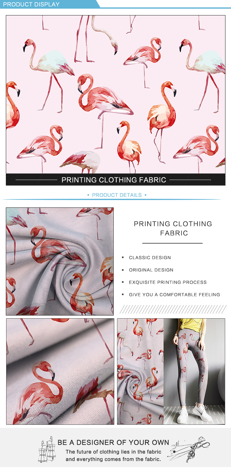 Yoga legging material dry fit sports printing polyester spandex fabric