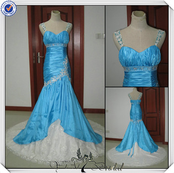 Jj0047 Real Sample Sweetheart Mermaid Lace White And Blue Wedding ...