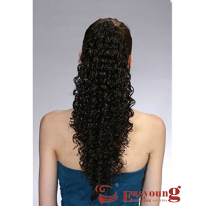 black afro curly drawstring ponytail hair piece claw clip for black women