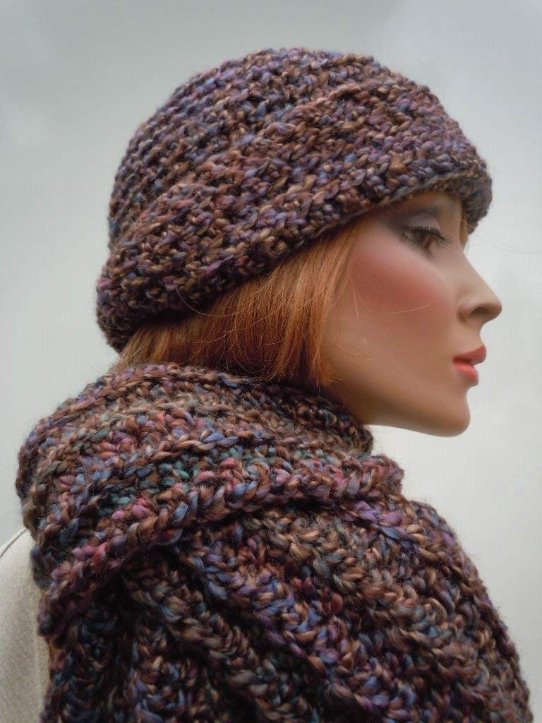 Tuscany Colors Hat and Scarf Set, Desert Colors Hat and Scarf Set, Brim Hat and Scarf Set, Variegated Colors Hat and Scarf, Crocheted Hat and Scarf, Women's Hat and Scarf Set