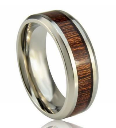 Fashionable European and American high quality titanium mens rings paper wood inlay titanium ring