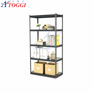 slotted angle shelving sheet metal storage rack with MDF shelves