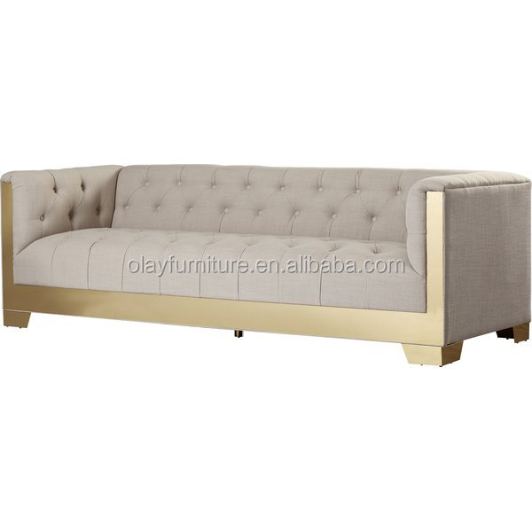 2017 hot sale royal furniture french style, new design gold stainless steel sofa