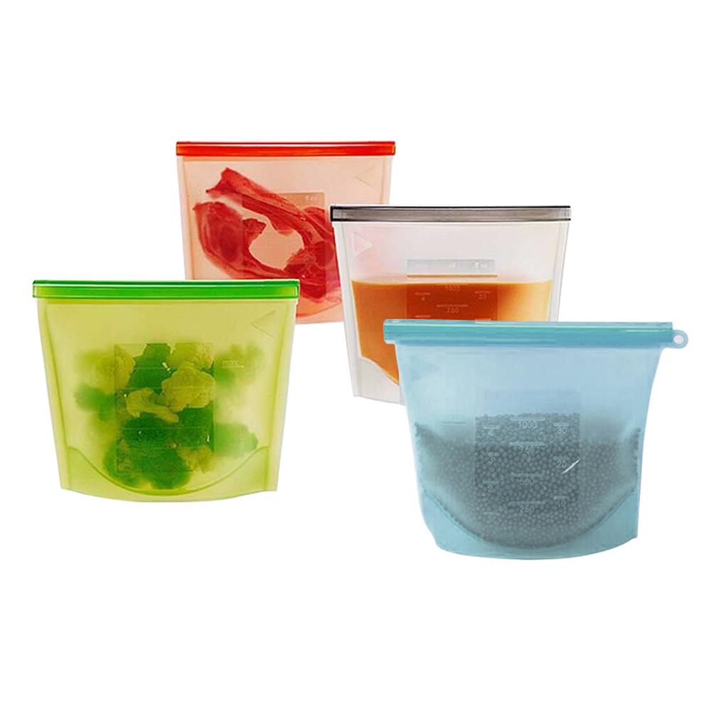Heißer Verkauf Große Wiederverwendbare BPA FREI Silikon Lebensmittel Lagerung Tasche mit Zipper