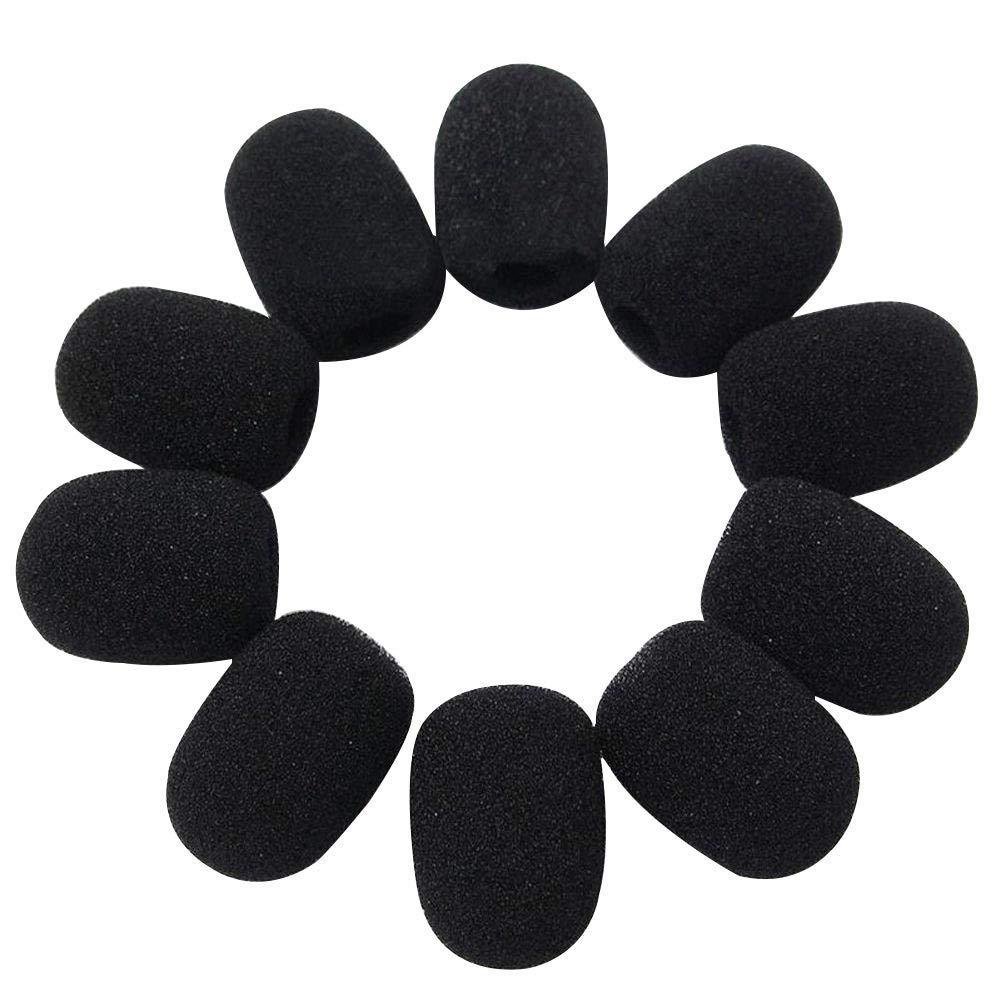 Microphone Windscreen, Sponge Foam Black Mini Microphone Headset Windscreen Mic Cover for Lavalier Lapel Microphone, 10 PCS/Lenght: 28mm, Width: 22mm, Inner Caliber: 8mm