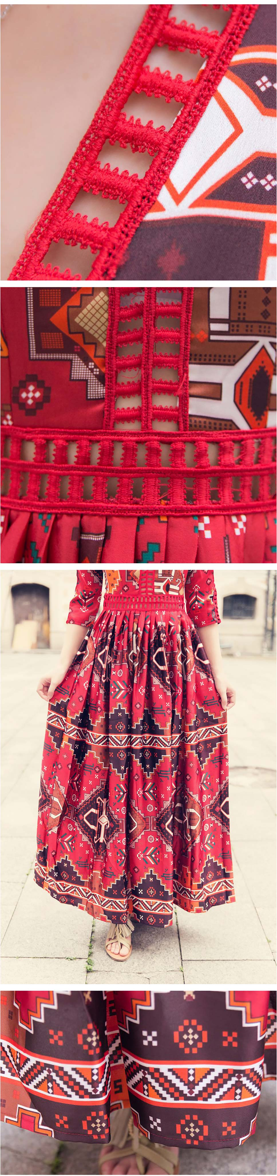 60c081b9b34f Bohemia Print Deep V-Neck Hollow Out Ankle Length Dress Retro High ...