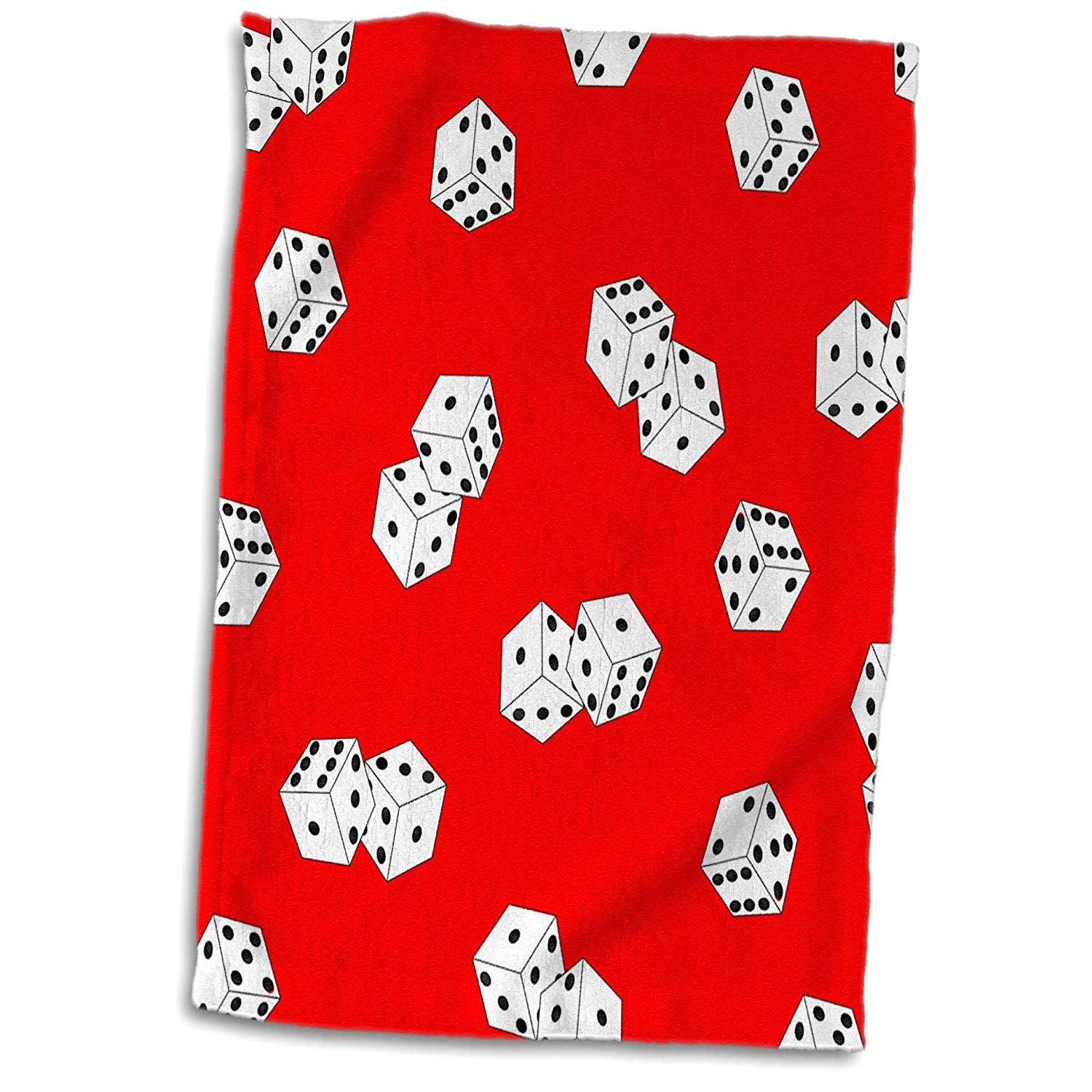 3dRose Red and White Dice Print Towel,