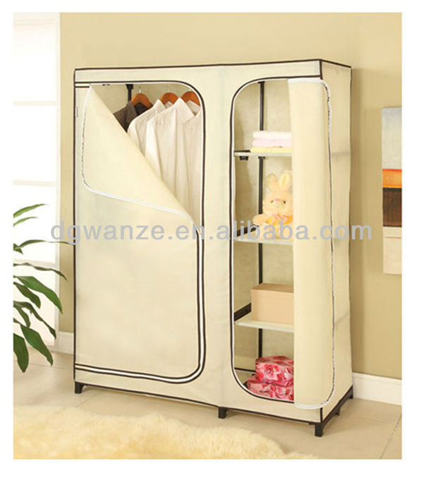 2017 hot selling Metal clothes bedroom non-woven fabric white wardrobes for bedroom