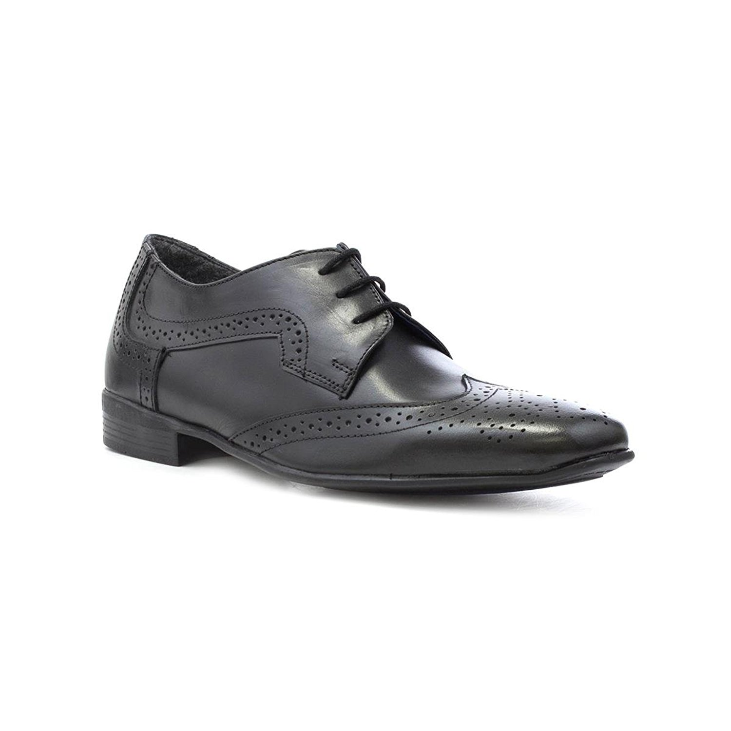 Frank James Mens Black Leather Lace up Brogue Shoe