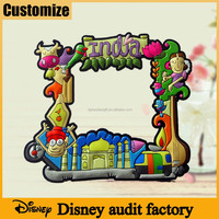 Disney audit factory souvenir gifts 2D/3D cartoon characters customize shape rubber photo frame