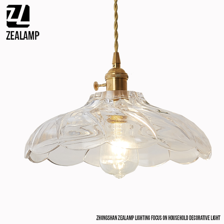 ZLDA002P Glass Lamp Chimney Chandeliers Pendant Lights Copper Lighting Body Metal Cover Pendant Lighting <strong>Modern</strong>