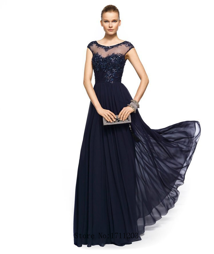 Real Simple Beaded Lace Sheer Long Evening Dresses With Sleeve 2015 In Stock Navy Blue Elegant Evening Prom Party Dress Vestidos