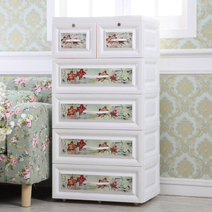 lily flower 4 layer plastic storage drawer cabinet with 2 lock
