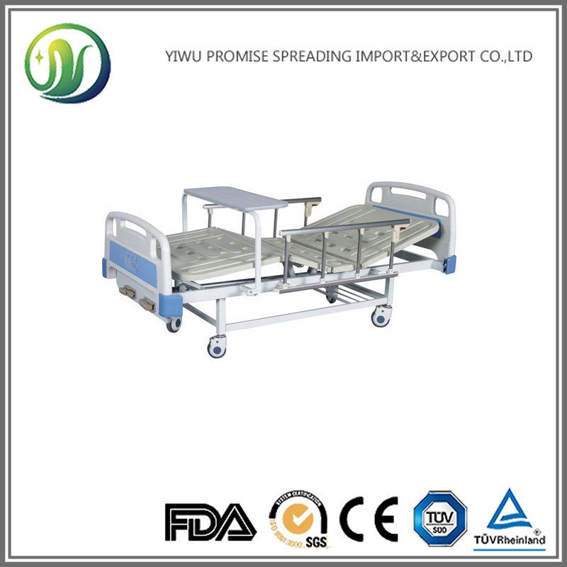 ABS Triple-folding Bed Rehabilitation Therapy Supplies Manual Hospital Bed Healthcare Product with Protective Railing