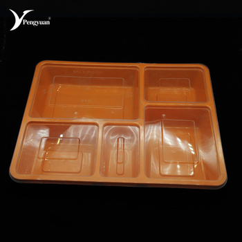 Plastic pp wegwerp voedsel containers 5 compartiment