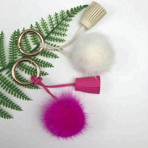 Colorful plated keychain cute mink fur pom pom tassel with leather tassel for car bag pendant charm
