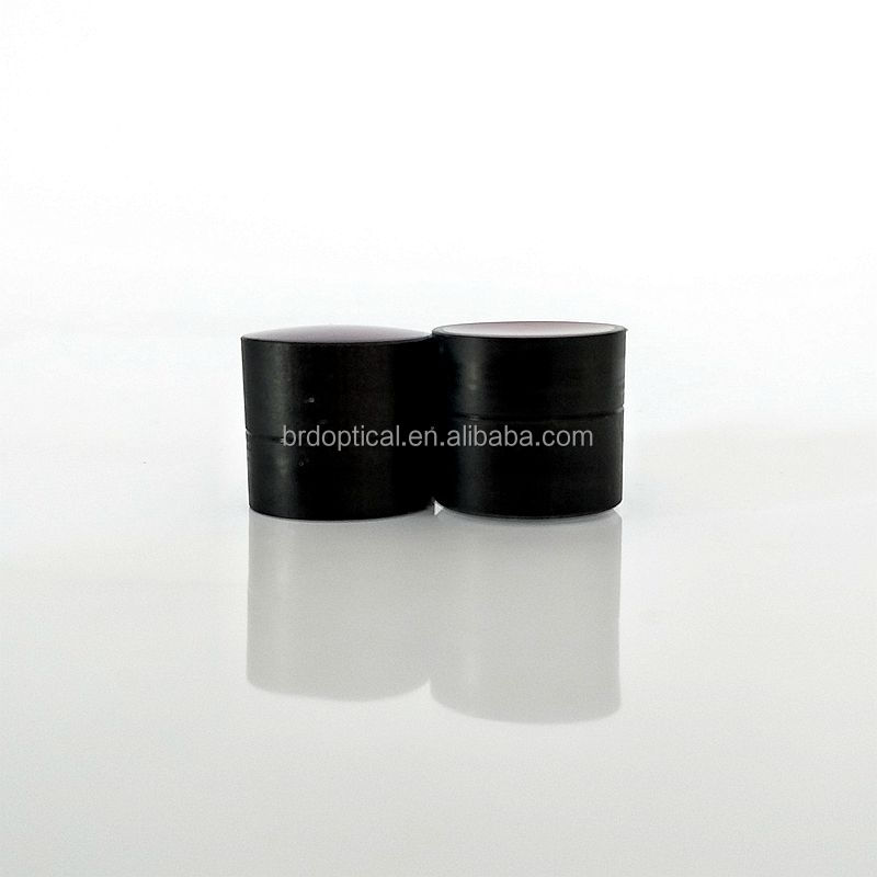 Optical achromatic cemented-double meniscus lens with black edge