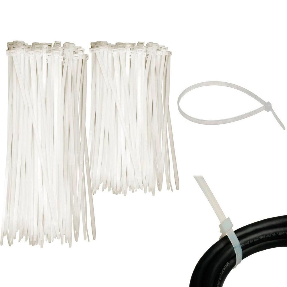 9c594362715a Get Quotations · 200 Pc Cable Ties Zip Heavy Duty Clear Nylon Wire Cords Uv  Resistant Tools 6