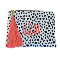 Wholesale Popular Monogrammed Women Canvas Tassel Leopard Print Makeup Bag