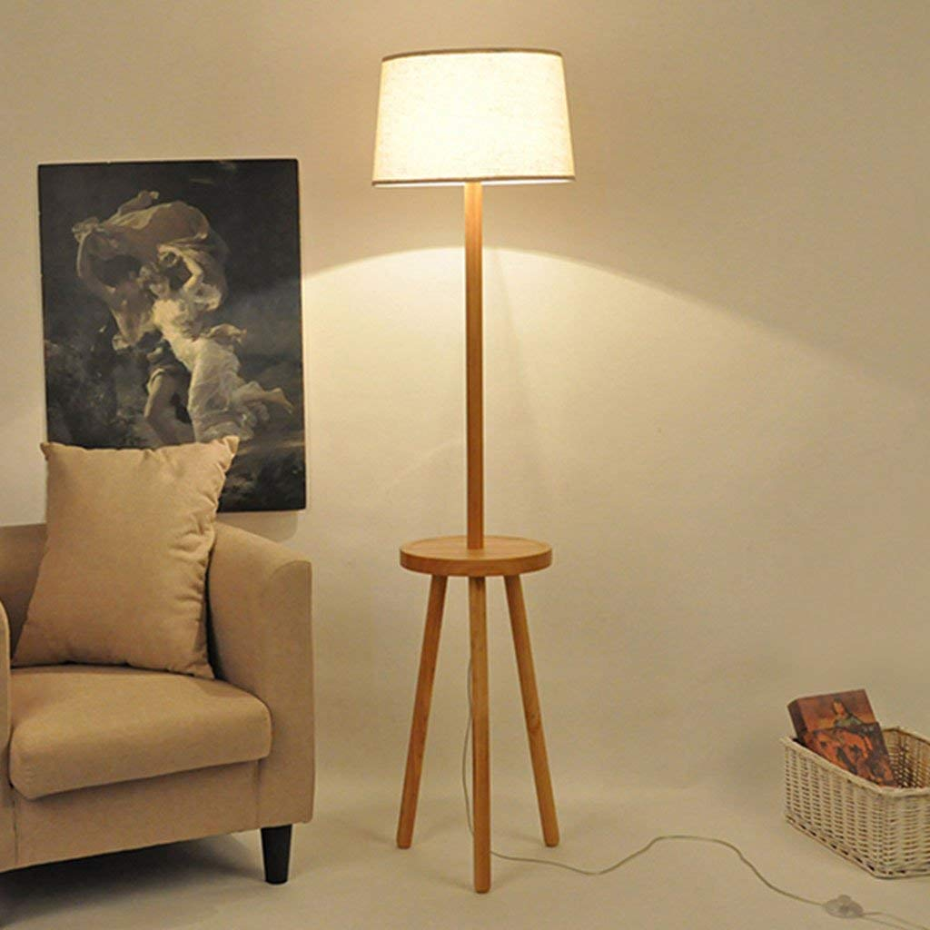 SX-ZZJ @Floor Lamps Floor Lamp Living Room Bedroom Solid Wood Light Coffee Table Remote Control Dimming Floor Lamp Lamps (Color : Foot Switch+Remote Control dimming)