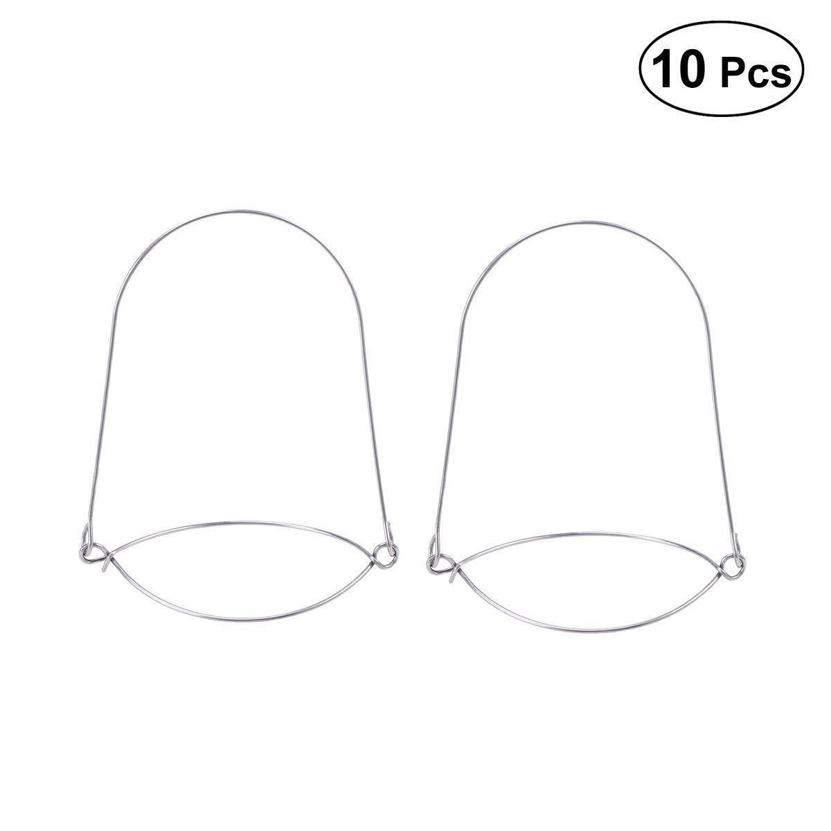 BESTONZON 10PCS Stainless Steel Wire Handles Mason Jar Hangers for Regular Mouth Canning Jars,Solar Mason Jar Lights Lanterns (Suit for 70MM Mason Jars)