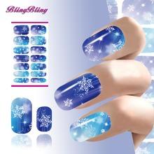 Xmas Nail Sticker Decals Snowflake Christmas Nail Art Decorations Flash Diamond Pattern Design Nails Wraps Water Transfer Foil
