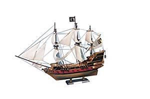 "Black Bart's Royal Fortune Model Pirate Ship 36"" - White Sails - Nautical Decor"